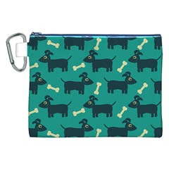Happy Dogs Animals Pattern Canvas Cosmetic Bag (xxl)