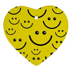 Digitally Created Yellow Happy Smile  Face Wallpaper Ornament (heart)