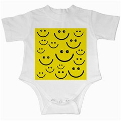 Digitally Created Yellow Happy Smile  Face Wallpaper Infant Creepers