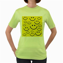 Digitally Created Yellow Happy Smile  Face Wallpaper Women s Green T Shirt