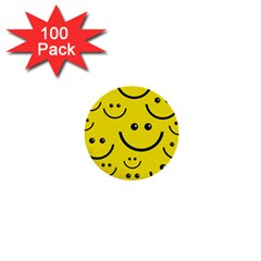 Digitally Created Yellow Happy Smile  Face Wallpaper 1  Mini Buttons (100 Pack)