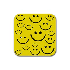 Digitally Created Yellow Happy Smile  Face Wallpaper Rubber Square Coaster (4 pack)