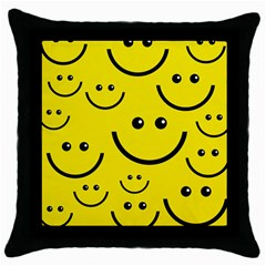 Digitally Created Yellow Happy Smile  Face Wallpaper Throw Pillow Case (black)