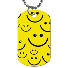 Digitally Created Yellow Happy Smile  Face Wallpaper Dog Tag (two Sides)
