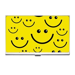 Digitally Created Yellow Happy Smile  Face Wallpaper Business Card Holders