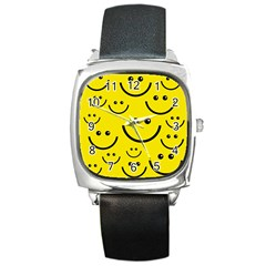 Digitally Created Yellow Happy Smile  Face Wallpaper Square Metal Watch