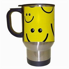 Digitally Created Yellow Happy Smile  Face Wallpaper Travel Mugs (white)
