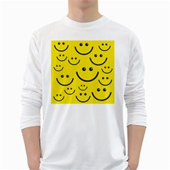 Digitally Created Yellow Happy Smile  Face Wallpaper White Long Sleeve T-Shirts