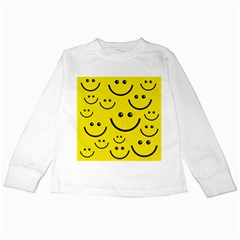 Digitally Created Yellow Happy Smile  Face Wallpaper Kids Long Sleeve T-Shirts