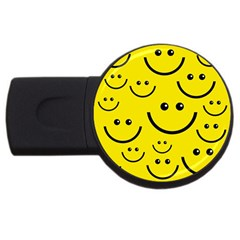 Digitally Created Yellow Happy Smile  Face Wallpaper Usb Flash Drive Round (4 Gb)