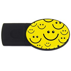 Digitally Created Yellow Happy Smile  Face Wallpaper USB Flash Drive Oval (4 GB)