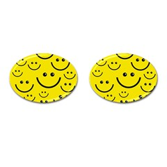 Digitally Created Yellow Happy Smile  Face Wallpaper Cufflinks (oval)
