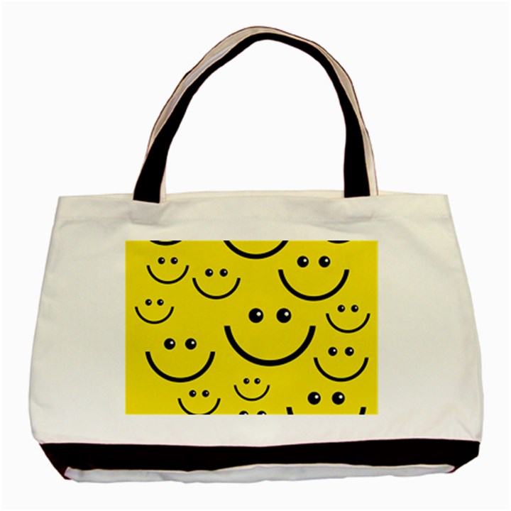 Digitally Created Yellow Happy Smile  Face Wallpaper Basic Tote Bag