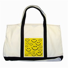 Digitally Created Yellow Happy Smile  Face Wallpaper Two Tone Tote Bag