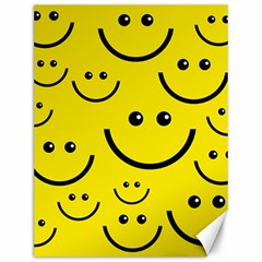 Digitally Created Yellow Happy Smile  Face Wallpaper Canvas 12  x 16