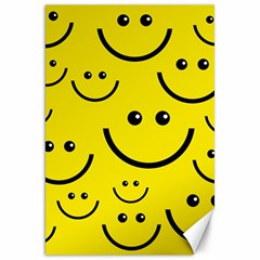 Digitally Created Yellow Happy Smile  Face Wallpaper Canvas 20  X 30
