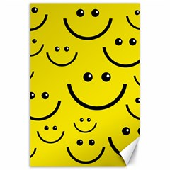 Digitally Created Yellow Happy Smile  Face Wallpaper Canvas 24  X 36