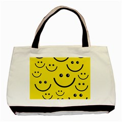 Digitally Created Yellow Happy Smile  Face Wallpaper Basic Tote Bag (two Sides)