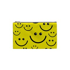 Digitally Created Yellow Happy Smile  Face Wallpaper Cosmetic Bag (Small)