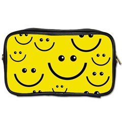 Digitally Created Yellow Happy Smile  Face Wallpaper Toiletries Bags 2 Side