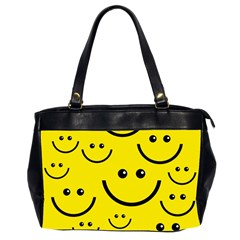 Digitally Created Yellow Happy Smile  Face Wallpaper Office Handbags (2 Sides)