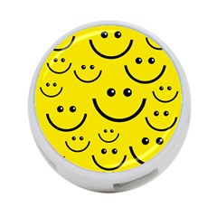 Digitally Created Yellow Happy Smile  Face Wallpaper 4 Port Usb Hub (one Side)