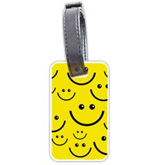 Digitally Created Yellow Happy Smile  Face Wallpaper Luggage Tags (Two Sides)