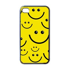 Digitally Created Yellow Happy Smile  Face Wallpaper Apple iPhone 4 Case (Black)