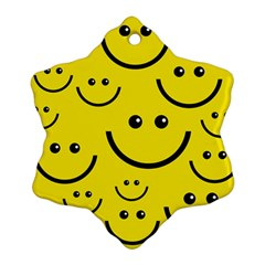 Digitally Created Yellow Happy Smile  Face Wallpaper Ornament (snowflake)
