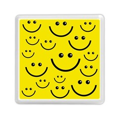 Digitally Created Yellow Happy Smile  Face Wallpaper Memory Card Reader (square)