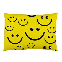Digitally Created Yellow Happy Smile  Face Wallpaper Pillow Case (Two Sides)