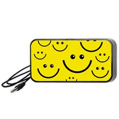 Digitally Created Yellow Happy Smile  Face Wallpaper Portable Speaker (Black)