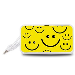Digitally Created Yellow Happy Smile  Face Wallpaper Portable Speaker (White)
