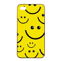Digitally Created Yellow Happy Smile  Face Wallpaper Apple iPhone 4/4s Seamless Case (Black)