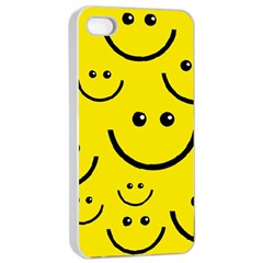 Digitally Created Yellow Happy Smile  Face Wallpaper Apple iPhone 4/4s Seamless Case (White)