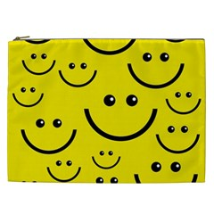 Digitally Created Yellow Happy Smile  Face Wallpaper Cosmetic Bag (XXL)