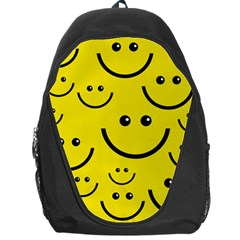 Digitally Created Yellow Happy Smile  Face Wallpaper Backpack Bag