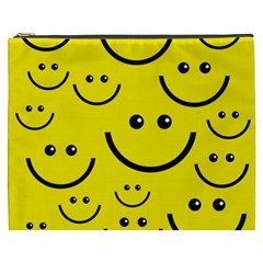 Digitally Created Yellow Happy Smile  Face Wallpaper Cosmetic Bag (xxxl)