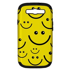 Digitally Created Yellow Happy Smile  Face Wallpaper Samsung Galaxy S Iii Hardshell Case (pc+silicone)
