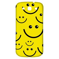 Digitally Created Yellow Happy Smile  Face Wallpaper Samsung Galaxy S3 S Iii Classic Hardshell Back Case