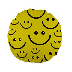 Digitally Created Yellow Happy Smile  Face Wallpaper Standard 15  Premium Round Cushions
