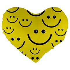Digitally Created Yellow Happy Smile  Face Wallpaper Large 19  Premium Heart Shape Cushions