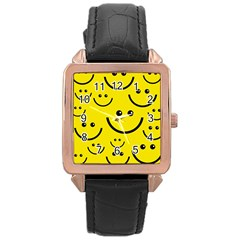 Digitally Created Yellow Happy Smile  Face Wallpaper Rose Gold Leather Watch
