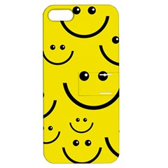 Digitally Created Yellow Happy Smile  Face Wallpaper Apple Iphone 5 Hardshell Case With Stand