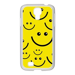 Digitally Created Yellow Happy Smile  Face Wallpaper Samsung Galaxy S4 I9500/ I9505 Case (white)