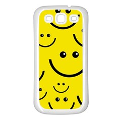 Digitally Created Yellow Happy Smile  Face Wallpaper Samsung Galaxy S3 Back Case (White)