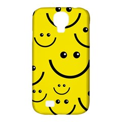 Digitally Created Yellow Happy Smile  Face Wallpaper Samsung Galaxy S4 Classic Hardshell Case (PC+Silicone)