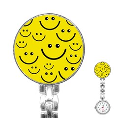 Digitally Created Yellow Happy Smile  Face Wallpaper Stainless Steel Nurses Watch