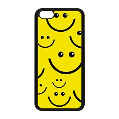 Digitally Created Yellow Happy Smile  Face Wallpaper Apple iPhone 5C Seamless Case (Black)