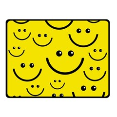 Digitally Created Yellow Happy Smile  Face Wallpaper Double Sided Fleece Blanket (Small)